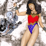 wonder woman in peril from a robot